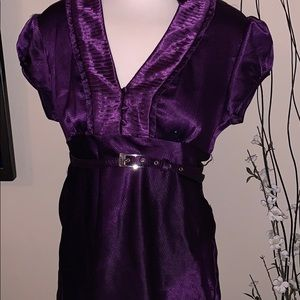 HeartSoul Silky eggplant purple blouse